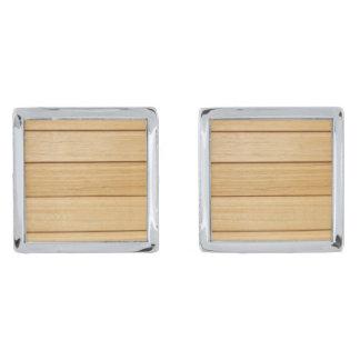 Trä belägger med tegel Cufflinks Silverpläterade Manschetterknappar
