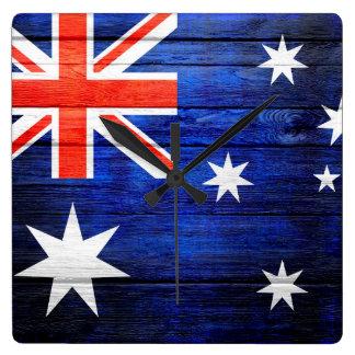 Trä för Australien flaggavintage Fyrkantig Klocka