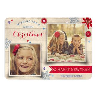 Trä- & för foto för helgdag för blommajul | kort 12,7 x 17,8 cm inbjudningskort