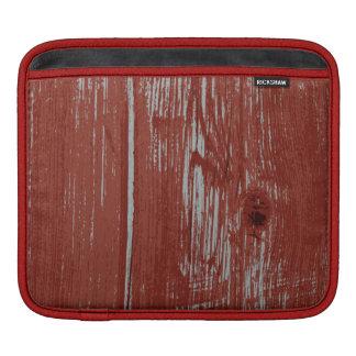 Trä för ladugård för lantligt stilland rött målat sleeve för iPads