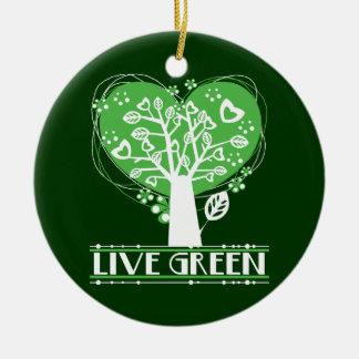 Träd av hjärtor bor grönt rund julgransprydnad i keramik