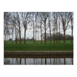 Träd fodrar kanalvykortet vykort
