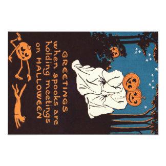 Träd för katt för svart för spöke för pumpajackO Fototryck