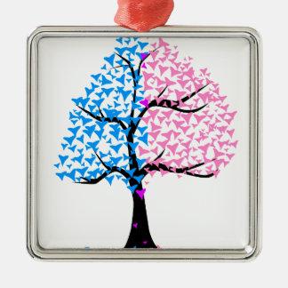 Träd för pojkeflickahjärtor silverfärgad fyrkantigt julgransprydnad