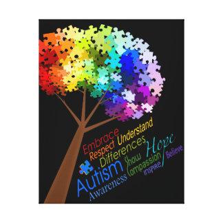 Träd för pussel för Autismmedvetenhetregnbåge med Canvastryck