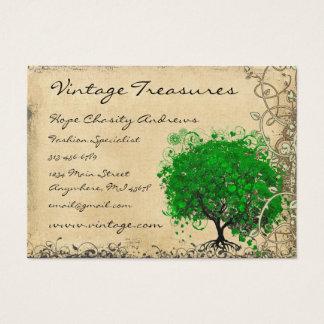 Träd för smaragdhjärtalöv virvlar runt visitkort