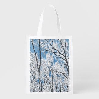 Träd i blått återanvändbar påse