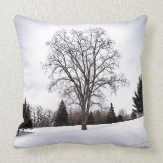 Träd landskap in tidig vårsnö kudde