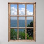 Träd och havet beskådar från ett fönster posters