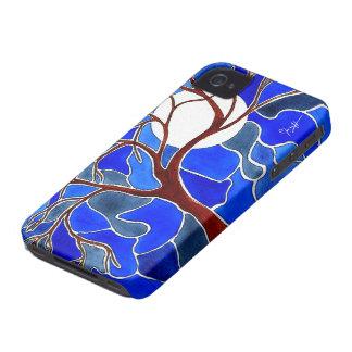 Träd och måne på kanfas - blått iPhone 4 cases