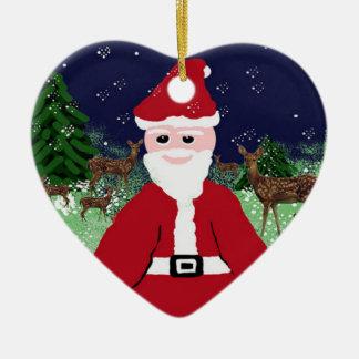 Träd smyckar Santa Claus och hjort Julgransprydnad Keramik
