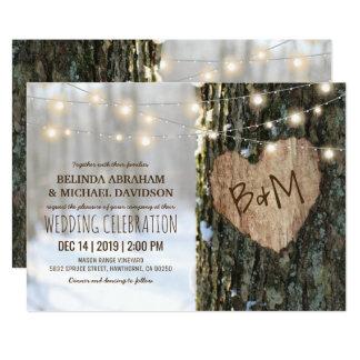 Trädbröllopinbjudningar lantlig | stränger ljus 12,7 x 17,8 cm inbjudningskort