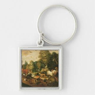 Trädgård av Eden (olja på kanfas) Nyckel Ring