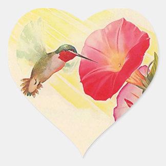 Trädgård för blommor för Hummingbird för Hjärtformat Klistermärke