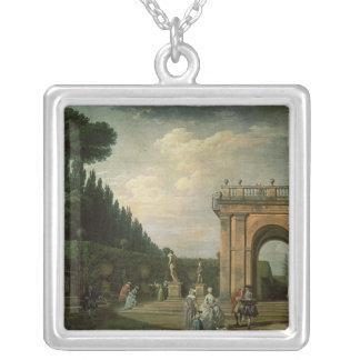 Trädgårdarna av villan Ludovisi, Rome, 1749 Silverpläterat Halsband