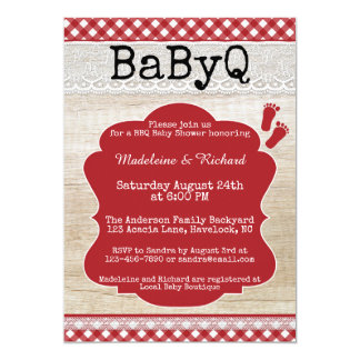 TrädgårdBBQ kopplar ihop baby showerinbjudan 12,7 X 17,8 Cm Inbjudningskort