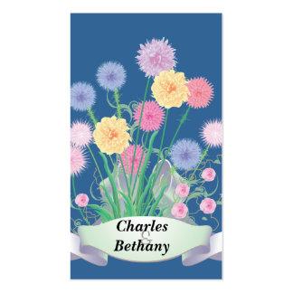 Trädgårdblommor Set Av Standard Visitkort