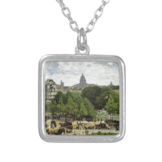 Trädgården av princessen vid Claude Monet Silverpläterat Halsband