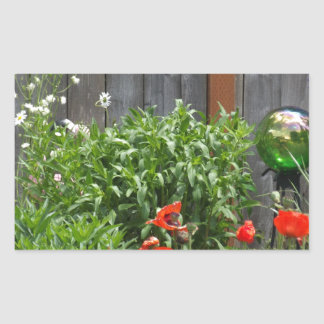 Trädgården blommar på staket rektangulärt klistermärke