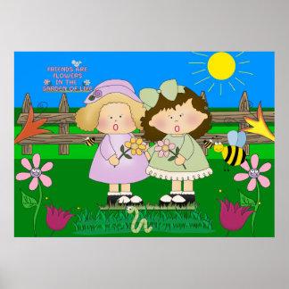 Trädgårds- barn för affischflickavänner poster