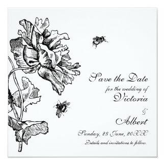 Trädgårds- blom- bröllopinbjudan fyrkantigt 13,3 cm inbjudningskort