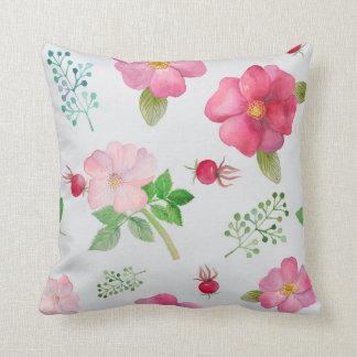 Trädgårds- blommönster för nypon kudde