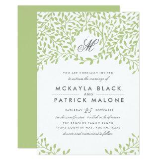 Trädgårds- bröllopinbjudan för hemlighet - grönt 12,7 x 17,8 cm inbjudningskort