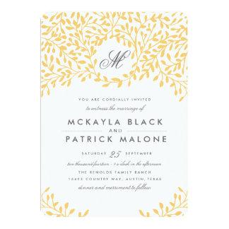 Trädgårds- bröllopinbjudan för hemlighet - senap 12,7 x 17,8 cm inbjudningskort