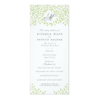 Trädgårds- bröllopsprogram för hemlighet - grönt 10,2 x 23,5 cm inbjudningskort