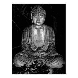 Trädgårds- Buddha - svartvitt foto Vykort