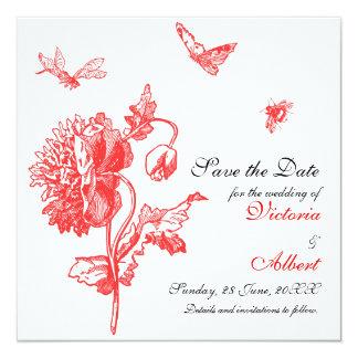 Trädgårds- fröjdbröllopinbjudan fyrkantigt 13,3 cm inbjudningskort