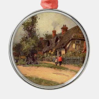 Trädgårds- konst för vintage - boll, Wilfrid Rund Silverfärgad Julgransprydnad