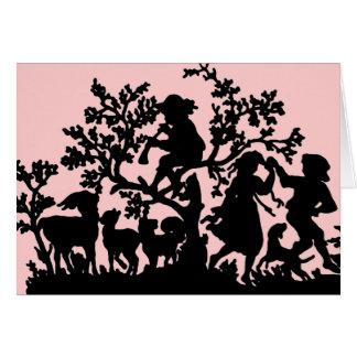 Trädgårds- party i rosa och svart hälsningskort