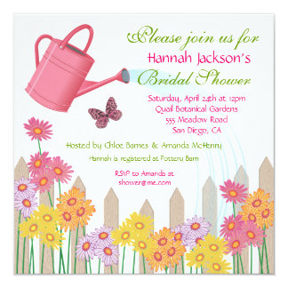 Trädgårds- partyinbjudningskort för möhippan fyrkantigt 13,3 cm inbjudningskort