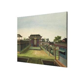 Trädgårds- plats, c.1820-40 (w/c på papper) 2 canvastryck