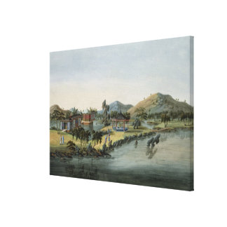 Trädgårds- plats, c.1820-40 (w/c på papper) canvastryck