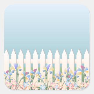 Trädgårds- staket- och blommaklistermärke fyrkantigt klistermärke