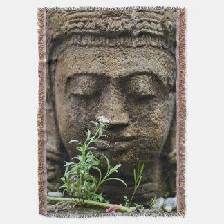 Trädgårds- staty för sten med blomman mysfilt