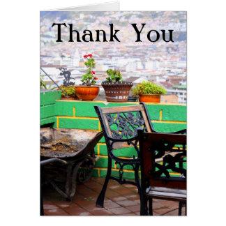 Trädgårds- terrasstack hälsningskort