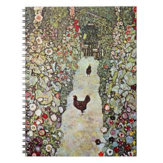 Trädgårds- vägw-hönor, Gustav Klimt, art nouveau Anteckningsbok