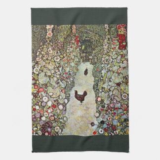 Trädgårds- vägw-hönor, Gustav Klimt, art nouveau Kökshandduk