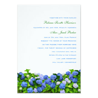 Trädgårds- vanlig hortensiabröllopinbjudningar, 12,7 x 17,8 cm inbjudningskort