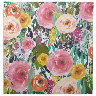 Trädgårds- vattenfärgblommor för romantiker tygservett