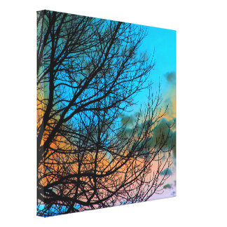 Trädgrenar slogg in kanfas canvastryck