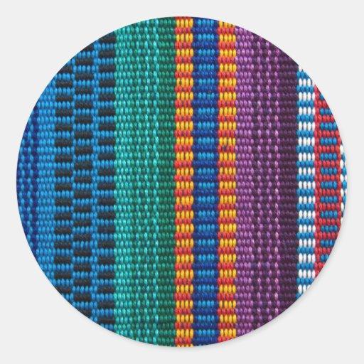 Traditionell Guatemala tygväv Rund Klistermärke