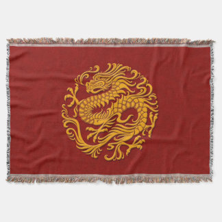 Traditionell gult på röd kinesisk drake cirklar filt