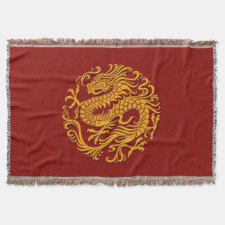 Traditionell gult på röd kinesisk drake cirklar mysfilt