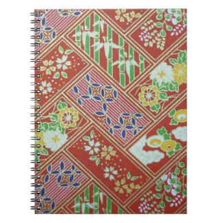 Traditionell japansk mönsteranteckningsbok anteckningsbok med spiral