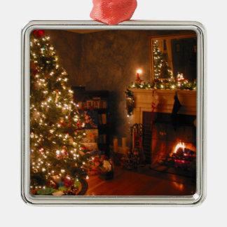 Traditionell jul silverfärgad fyrkantigt julgransprydnad