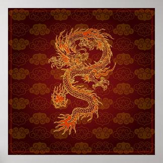 Traditionell kinesisk röd drake poster